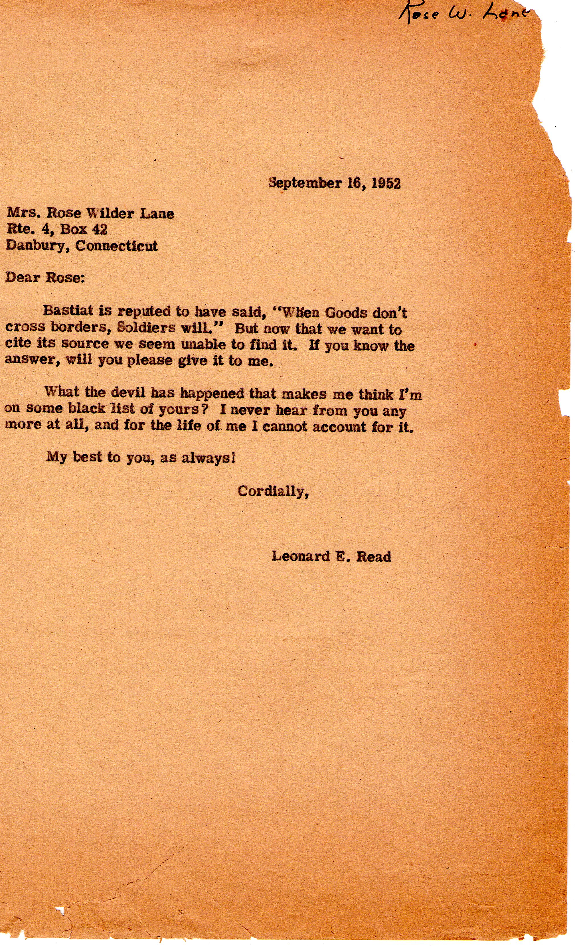Letter From Leonard Read to Rose Wilder Lane on September 16  1952Rose Wilder Lane Quotes